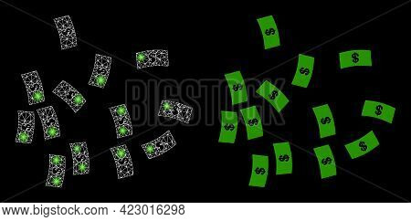 Magic Mesh Vector Dollar Banknotes With Glare Effect. White Mesh, Glare Spots On A Black Background