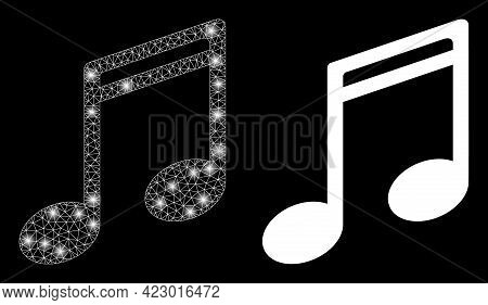 Glossy Mesh Vector Music Notes With Glare Effect. White Mesh, Glare Spots On A Black Background With
