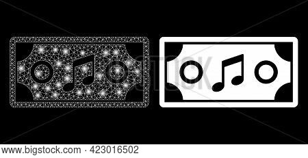 Glamour Mesh Vector Concert Ticket With Glare Effect. White Mesh, Bright Spots On A Black Background