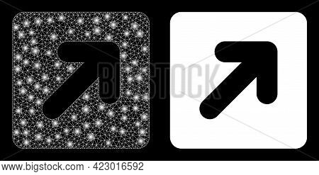 Bright Mesh Vector Right Up Direction With Glare Effect. White Mesh, Bright Spots On A Black Backgro