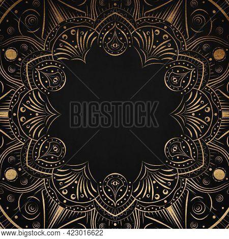 Black Vintage Greeting Card With Golden Mandala. Great For Invitation, Flyer, Menu, Brochure, Postca