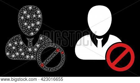 Magic Mesh Vector Banned User With Glare Effect. White Mesh, Glare Spots On A Black Background With