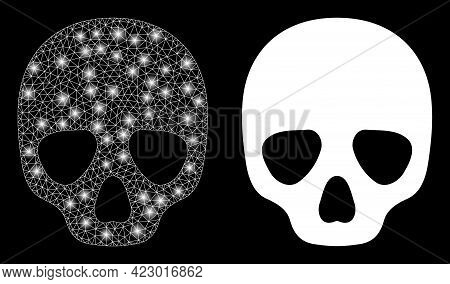Glamour Mesh Vector Skull With Glare Effect. White Mesh, Glare Spots On A Black Background With Skul