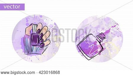 Nails And Manicure Icons, Watercolor Circles. Isolated On White. Vector Illustration