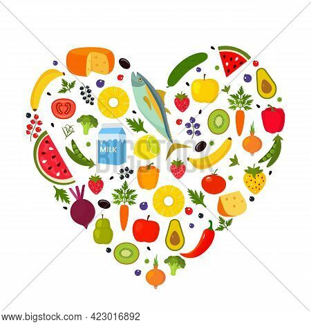 The Heart Consists Of Fish, Cheese, Vegetables, Fruits, Berries And Herbs. The Concept Of Love For A