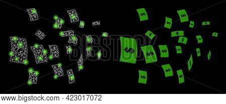 Bright Mesh Vector Flying Dollar Banknotes With Glare Effect. White Mesh, Light Spots On A Black Bac