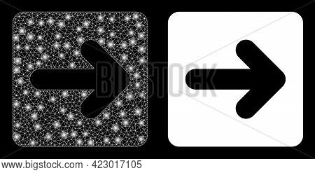 Glossy Mesh Vector Right Cursor With Glare Effect. White Mesh, Glare Spots On A Black Background Wit