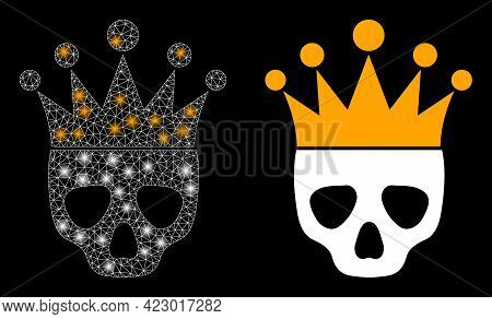 Glossy Mesh Vector Dead King With Glow Effect. White Mesh, Light Spots On A Black Background With De