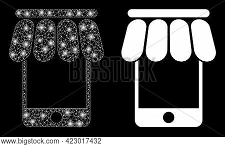 Bright Mesh Vector Mobile Shop With Glare Effect. White Mesh, Glare Spots On A Black Background With