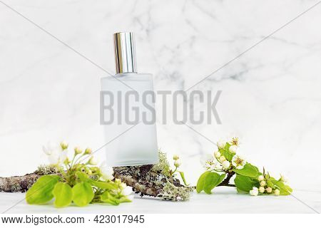 Perfume With Woody Herbal Floral Scent On White Marble Background. Copy Space, Text