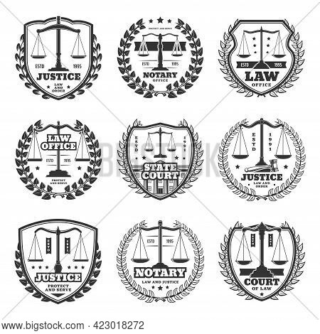 Notary Office And Court Icons, Justice Service Retro Emblems And Labels. Monochrome Vector Scales Of