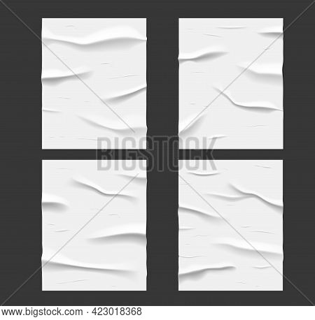 White Glued Wet Paper Posters, Wrinkled And Crumpled Texture. Vector Creased Sheets With Corrugation