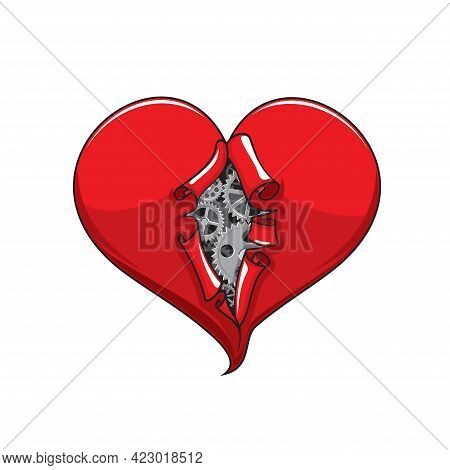 Cartoon Heart With Metal Gears And Cogwheels In Gap. Human Heart Mechanism, Valentine Holiday Love A