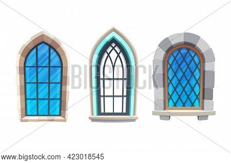 Window Of Medieval Castle Or Fortress Interior. Church, Cathedral Or Temple Exterior Element, Gothic