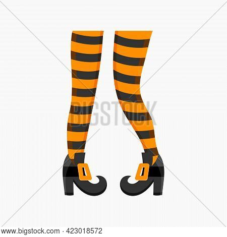 Witch Legs In Striped Stockings And Boots Isolated On White Background. Design Element For Halloween