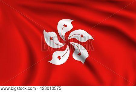 Hong Kong Flag. Realistic Vector Wrinkles Or Creases, Hong Kong Emblem With Bauhinia White Flower An