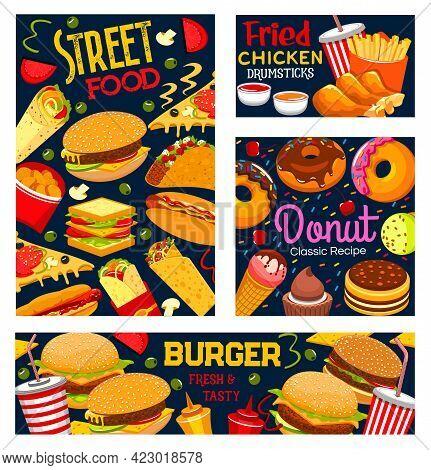 Street Food, Takeaway Meals Vector Burger, Hot Dog, Pizza And Sandwich. Fastfood Menu Soda Drink, Fr