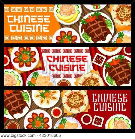 Chinese Cuisine Food, Restaurant Banners Or Asian Menu Dishes, Vector. Chinese Peking Duck And Wonto