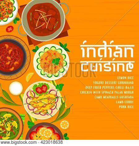 Indian Cuisine Menu Cover Design Template. Lemon Rice, Deep Fried Peppers Chilli Bajji And Mushroom