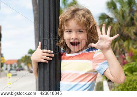 Happy Boy Kid Open Hand Showing Five Fingers In Greeting Summer Outdoors, Hi-five