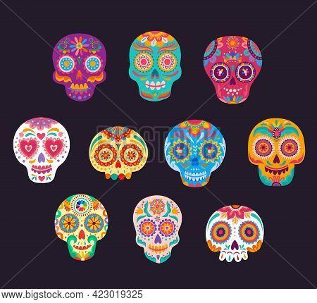 Mexican Calavera Cartoon Sugar Skulls Vector Set. Dia De Los Muertos Craniums With Flowers And Flora