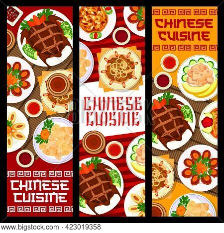 Chinese Food Banners, Asian Cuisine And China Restaurant Menu Covers, Vector. Traditional Chinese Pe