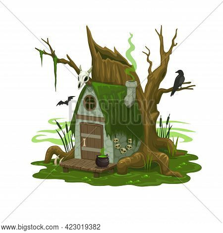 Fairy Swamp House Or Dwelling Of Wizard Or Evil. Cartoon Vector Building On Wooden Stilts In Deep Bo