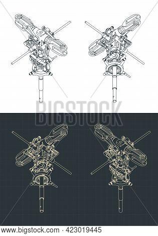Helicopter Main Rotor Isometric Blueprints