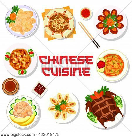Chinese Cuisine Food Menu With Asian Dishes And Plates, Vector Traditional Meals. Chinese Restaurant