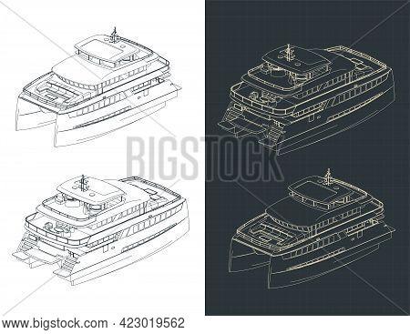 Large Catamaran Isometric Drawings