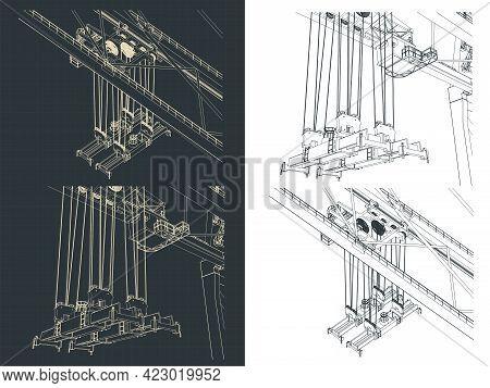 Port Crane Container Spreader Closeup Drawings