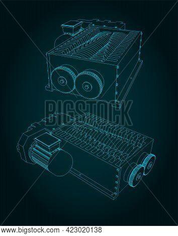 Shredder Machine Illustration