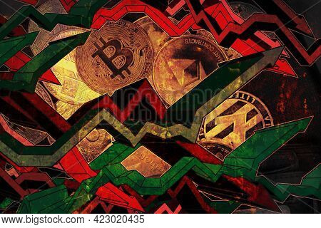 Rise And Drop Of Cryptocurrencies Concept With Red And Green Arrows. Photo With Crypto Coin As Backg