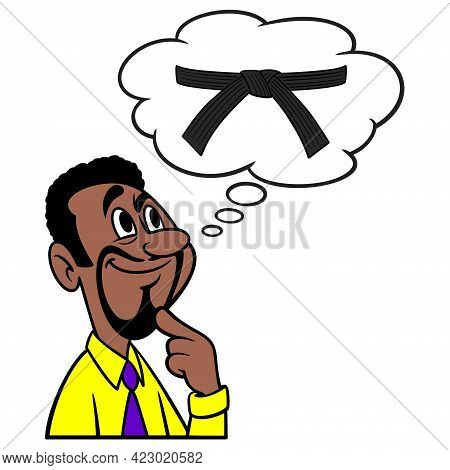 Man Thinking About Karate - A Cartoon Illustration Of A Man Thinking About Getting His Black Belt In