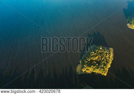 Lyepyel, Lepel Lake, Beloozerny District, Vitebsk Region. Aerial View Of Island On Lepel Lake In Aut