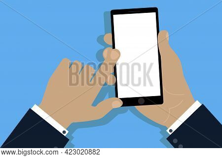 Mobile Phone In Hand. Mobile Phone. Cell Phone. Hand Touch Screen Smartphone Icon. Stock Image.