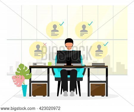 Hr Manager Analyzing Resumes Vector Illustration. Employment Service Personnel. Recruiter, Secretary