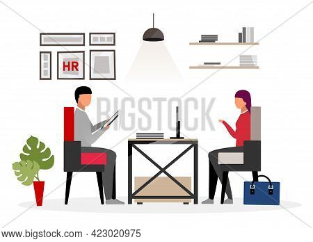 Meeting Hr Specialist Flat Vector Illustration. Recruiting Expert Interviewing Potential Employee. F