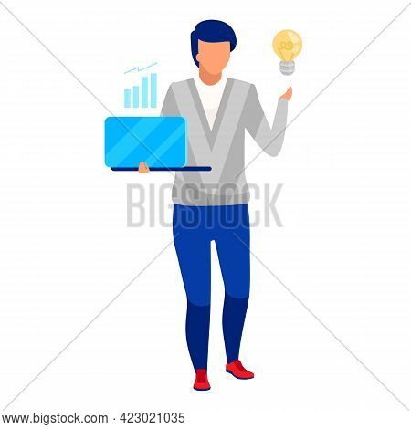 Financial Analyst Flat Vector Illustration. Company Worker, Businessman Isolated Cartoon Character O