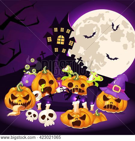 Halloween Cartoon Vector Illustration. Creepy Pumpkins, Haunted House With Graveyard, Moon Backgroun