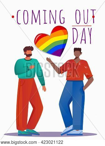 Coming Out Day Poster Vector Template. Multinational Friends. Lgbt Community. Gay Pride Brochure, Co