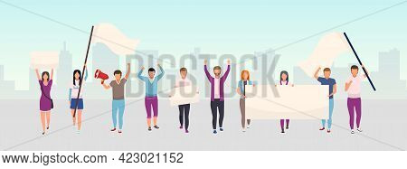 Street Protest Action Flat Illustration. Protestors, Social Movement Activists Holding Blank Banners