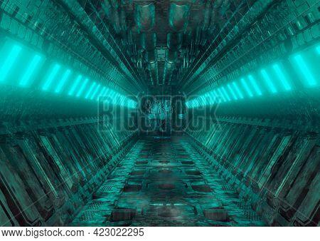 Sci-fi Realistic Luminous Corridor From The Spaceship Interior. Cyberpunk Futuristic Tunnel With Gru