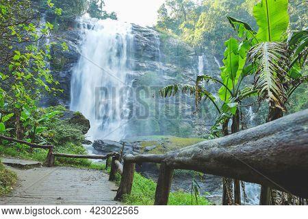 Wachirathan Waterfall At Doi Inthanon National Park In Mae Chaem District, Chiang Mai Province, Thai