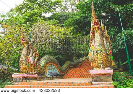 The World Famous Long Naga Stairs 306 Steps In Wat Phra That Doi Suthep Tempe, Chiang Mai Province,