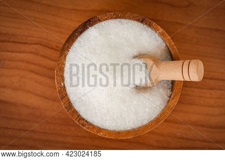 Monosodium Glutamate On Bowl And Wooden Table Background, Msg For Food Seasoning