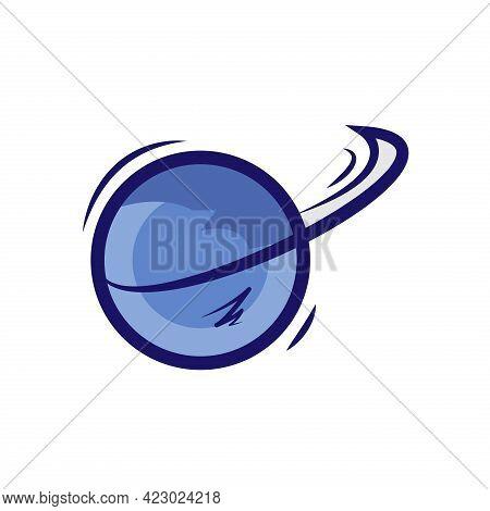 Swoosh Cricket Ball Logo Icon Vector Image Design Template