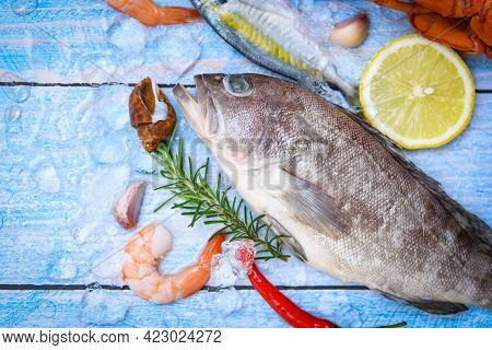 Grouper Fish On Ice With Rosemary Lemon, Fresh Raw Seafood Fish For Cooked Food