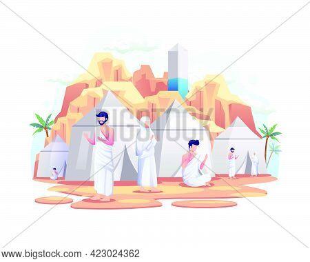 Muslims Resting In Tents On Islamic Hajj Pilgrimage. Flat Vector Illustration