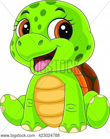 Vector Illustration Of Cartoon Funny Baby Turtle Sitting